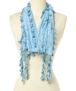 Wholesale Bulk Pack Long Tassel Lace Scarf Wrap Blue GDYH25-2
