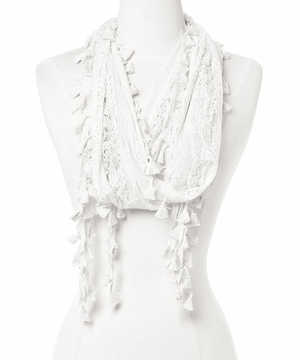 Wholesale Bulk Pack Long Tassel Lace Scarf Wrap White GDYH25-3