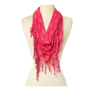 Wholesale Bulk Pack Lace Triangle Scarf -Hot Pink GDYH26-08