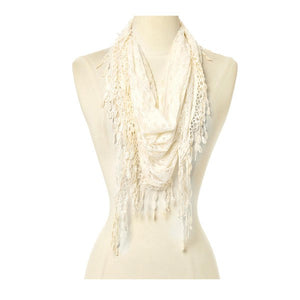 Wholesale Bulk Pack Lace Triangle Scarf -Cream GDYH26-12