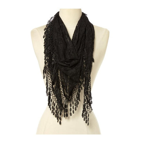 Wholesale Bulk Pack Lace Triangle Scarf -Black GDYH26-13