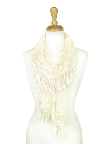 Wholesale Bulk Pack Lace Scarf Ivory GDYH30-02