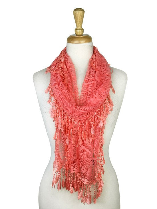 Wholesale Bulk Pack Lace Scarf Coral GDYH30-100