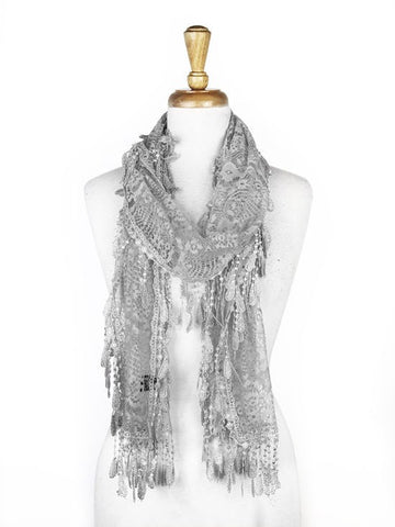 Wholesale Bulk Pack Lace Scarf Gray GDYH30-28