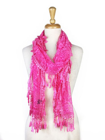 Wholesale Bulk Pack Lace Scarf Hot Pink GDYH30-63