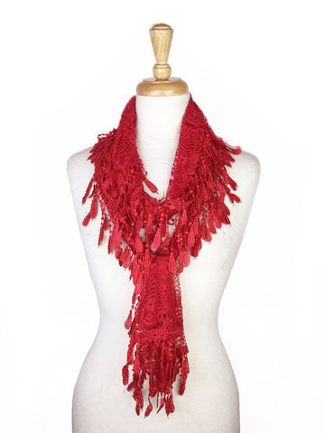 Wholesale Bulk Pack Lace Scarf D. Red GDYH30-64