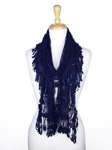 Wholesale Bulk Pack Lace Scarf Navy Blue GDYH30-66