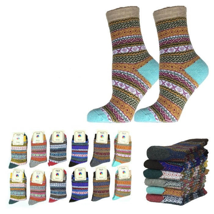 Wholesale Bulk Pack 12pack Wool Blend Warm Crew Women Socks-GDP746