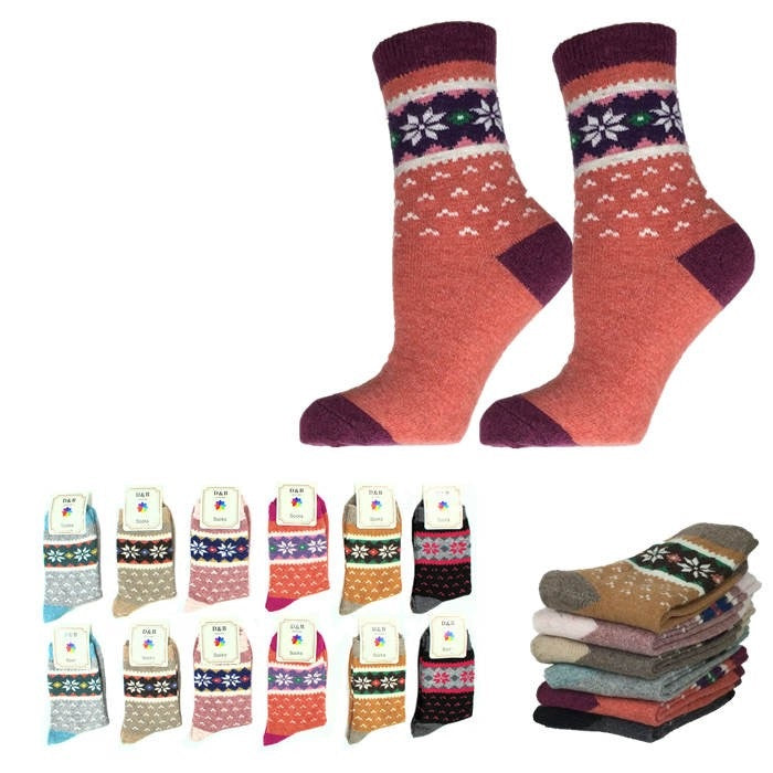Wholesale Bulk Pack 12pack Wool Blend Warm Crew Women Socks-GDP738