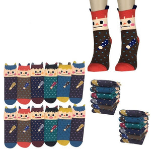 Wholesale Bulk Pack 12pack Women's Cute Art Cartoon Colorful Casual Crew Cotton Animal Socks-GDP704