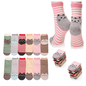 Wholesale Bulk Pack 12pack Women's Cute Art Cartoon Colorful Casual Crew Cotton Animal Socks-GDP702