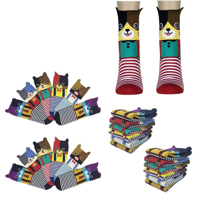 Wholesale Bulk Pack 12pack Women's Cute Art Cartoon Colorful Casual Crew Cotton Animal Socks-GDP672