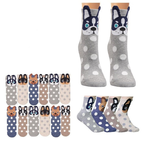Wholesale Bulk Pack 12pack Women's Cute Art Cartoon Colorful Casual Crew Cotton Animal Socks-GDP660