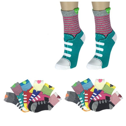 Wholesale Bulk Pack 12pack Women's Cute Art Cartoon Colorful Casual Crew Cotton Animal Socks-GDP658