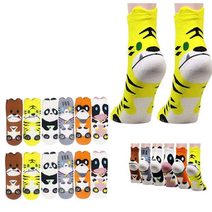 Wholesale Bulk Pack 12pack Women's Cute Art Cartoon Colorful Casual Crew Cotton Animal Socks-GDP656