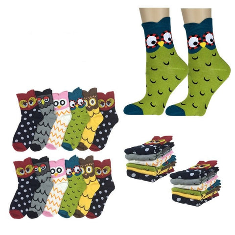 Wholesale Bulk Pack 12pack Women's Cute Art Cartoon Colorful Casual Crew Cotton Animal Socks-GDP654