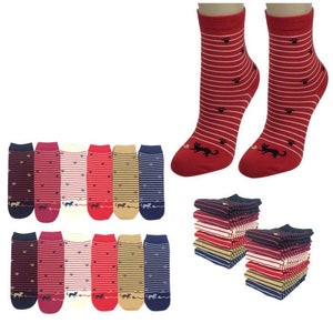Wholesale Bulk Pack 12pack Women's Cute Art Cartoon Colorful Casual Crew Cotton Animal Socks-GDP682