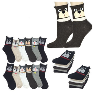 Wholesale Bulk Pack 12pack Women's Cute Art Cartoon Colorful Casual Crew Cotton Animal Socks-GDP676