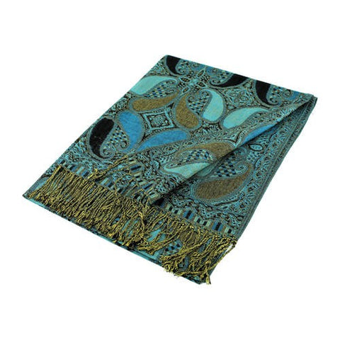 Wholesale Black Blue Paisley Pashmina Scarf-GDP1535