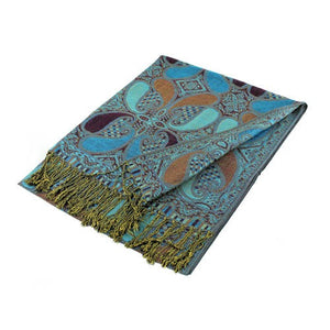 Wholesale Turquoise Grape Paisley Pashmina Scarf-GDP1527