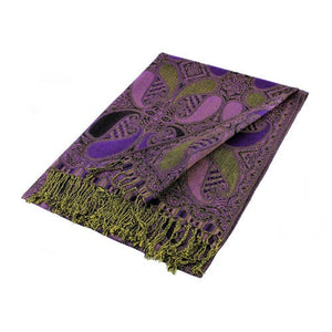 Wholesale Black Purple Paisley Pashmina Scarf-GDP1513