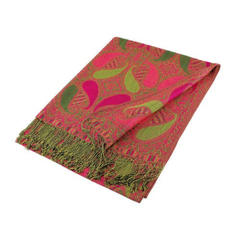 Wholesale Gorgeous Olive Fuchsia Paisley Pashmina Scarf-GDP1511-In Bulk Pack