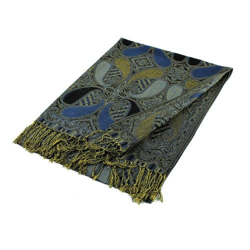 Wholesale Gorgeous Blue Black Paisley Pashmina Scarf-GDP1507