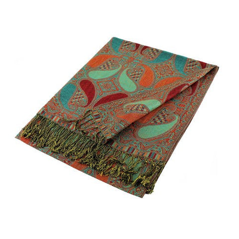 Wholesale Red Kelly Green Paisley Pashmina Scarf-GDP1491-In Bulk Pack