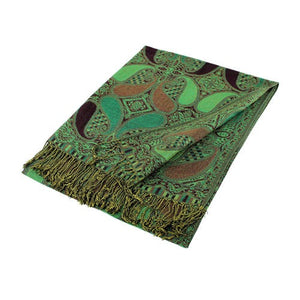 Wholesale Wine Green Paisley Pashmina Scarf-GDP1501