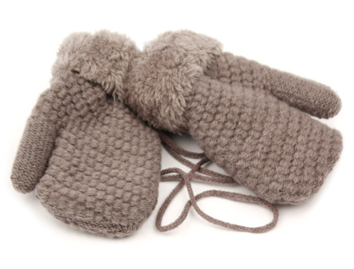 Wholesale Bulk Pack Winter Knit Kids Mittens W/Sherpa Lining & String-GDP440