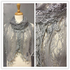 Wholesale Bulk Pack Lace scarf Light Gray-GDP3741