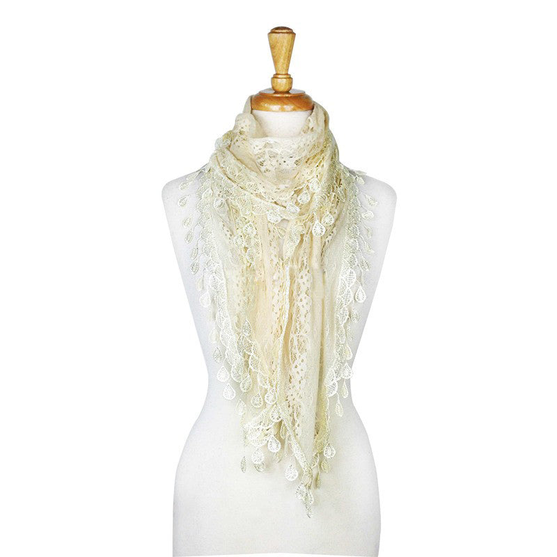 Wholesale Bulk Pack Lace scarf White-GDP3739