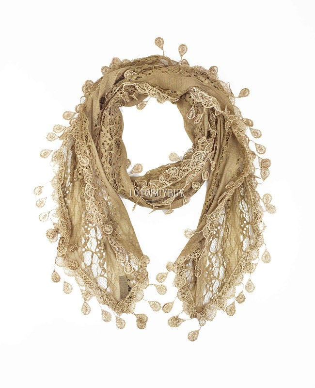 Wholesale Bulk Pack Lace scarf Brown-GDP3733