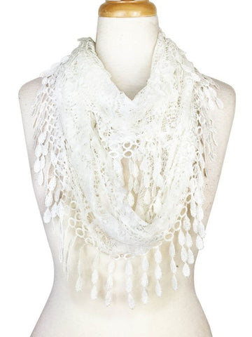 Wholesale Bulk Pack Lace Infinity Scarf White  GDH15-02