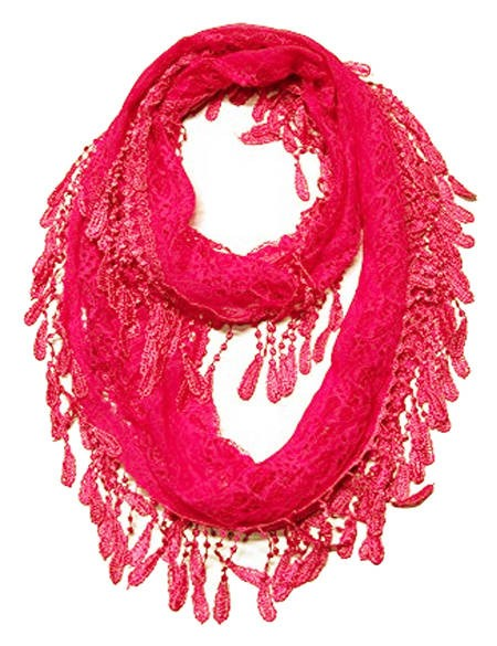 Wholesale Bulk Pack Lace Infinity Scarf Hotpink  GDH15-03
