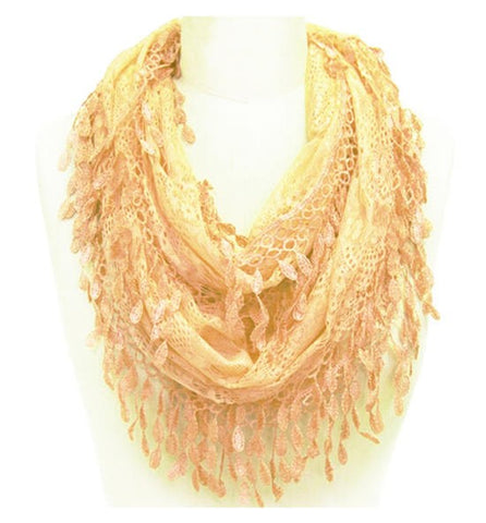 Wholesale Bulk Pack Lace Infinity Scarf Tan  GDH15-12