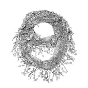 Wholesale Bulk Pack Lace Infinity Scarf Light Gary  GDH15-28