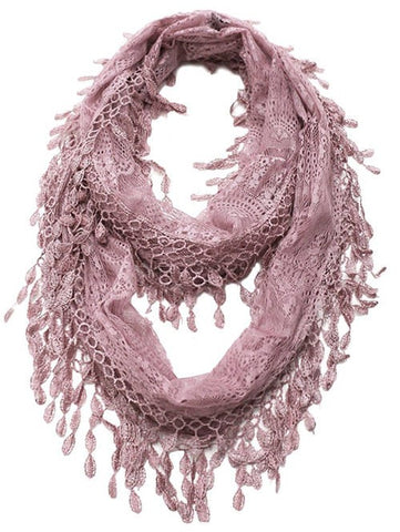 Wholesale Bulk Pack Lace Infinity Scarf Pink  GDH15-46