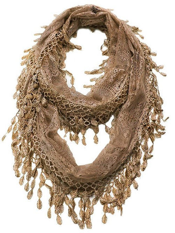 Wholesale Bulk Pack Lace Infinity Scarf Brown  GDH15-47