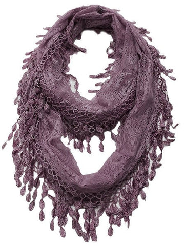 Wholesale Bulk Pack Lace Infinity Scarf Purple GDH15-67