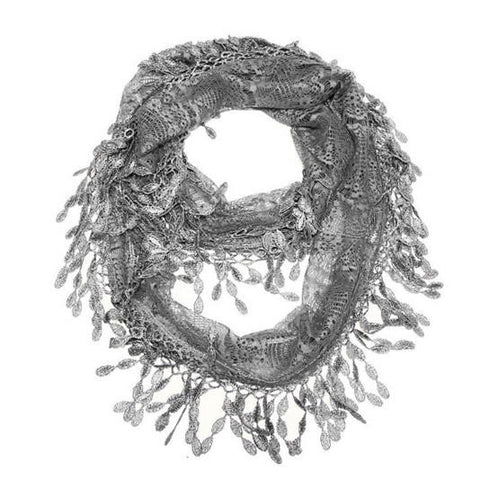 Wholesale Bulk Pack Lace Infinity Scarf Dark Gary GDH15-91