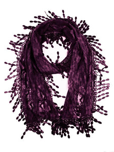 Wholesale Bulk Pack Lace Scarf Dark Purple GDH17-05