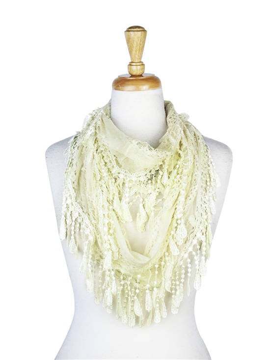 Wholesale Bulk Pack Lace infinity scarf Ivory-GDP140