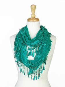 Wholesale Bulk Pack Lace infinity scarf Teal-GDP136