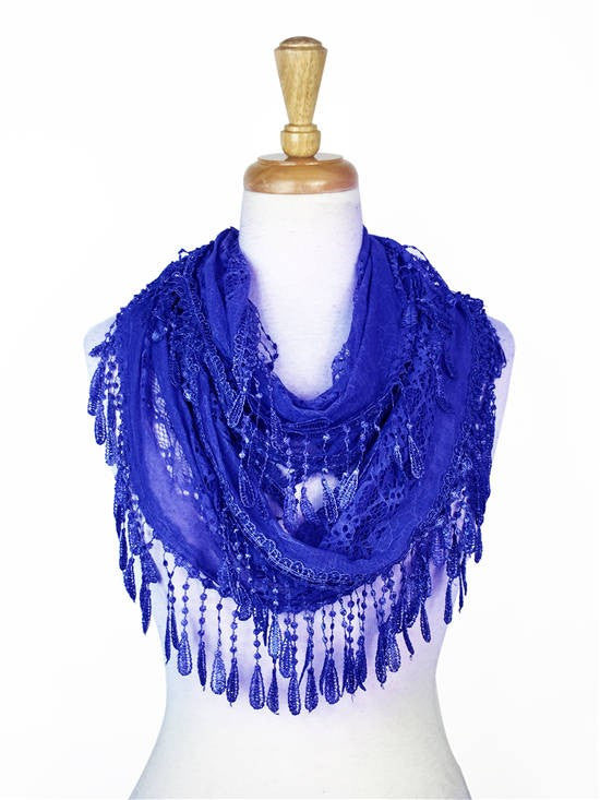Wholesale Bulk Pack Lace infinity scarf R. Blue-GDP134