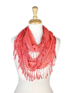 Wholesale Bulk Pack Lace infinity scarf Coral-GDP132