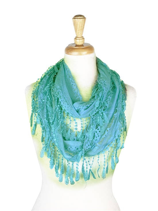Wholesale Bulk Pack Lace infinity scarf L. Blue-GDP128