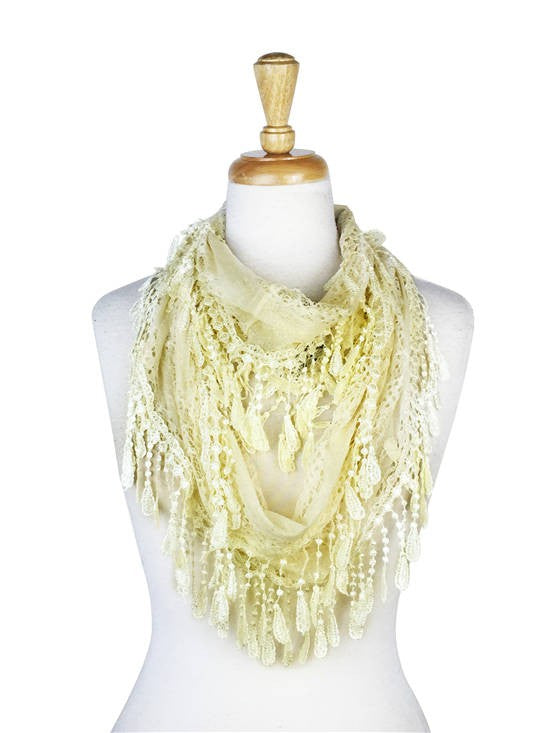 Wholesale Bulk Pack Lace infinity Scarf Beige-GDP120