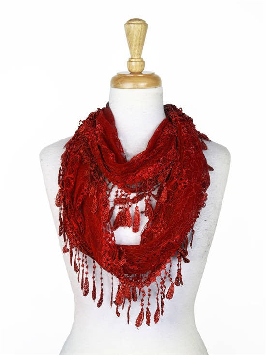 Wholesale Bulk Pack Lace Infinity Scarf D. Red-GDP114