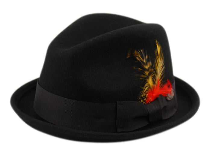 Wholesale Bulk Pack Wool Felt Fedora Hats With Feather-GDP3537